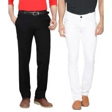 Combo White & Black Slim Fit Jeans Fabric Weight: 300 Grams (G)