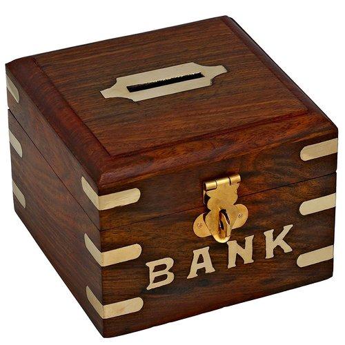 Light Wooden Bank For Children