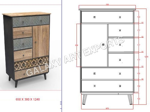 Drawer Cabinet Antique Long Style 1