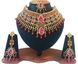 Bollywood Style Gold Plated Fashion Bridal Necklace Set