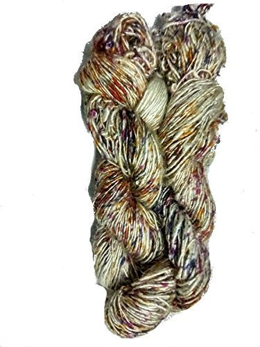 Ocean of green multicolour 100 Grams Recycled Sari Silk Yarn