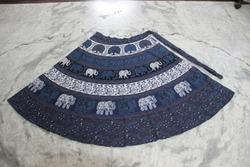 Blue Shaded Women Wrap Around Skirt