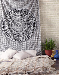 Printed Black And White Cotton Decorative Wall Hanging
