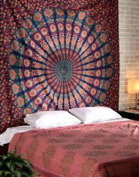 Printed Queen Multicolor Mandala Bohemian Wall Hanging