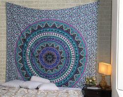 Purple Mandala Kerala Printed Floral Tapestry Wall Decor