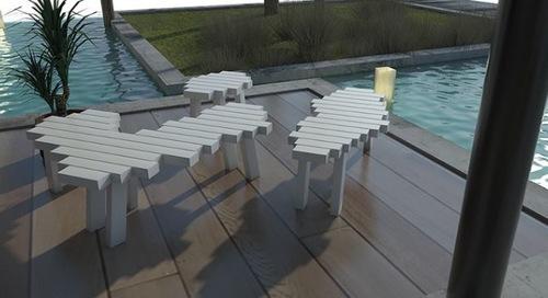 Poolside Cloud Bench in  Ecotech