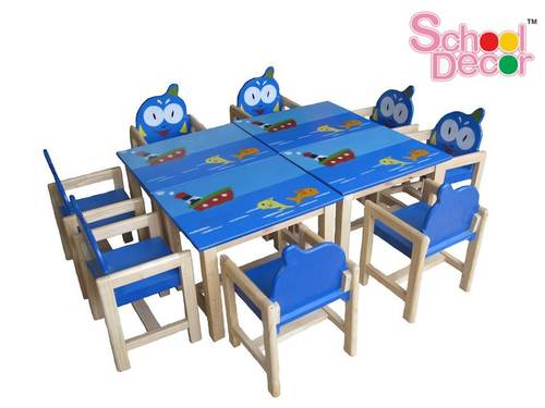 8 Friends Rubber Wood Play School Table With Chair Set in  Laxmi Nagar