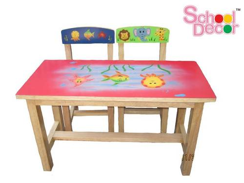 Marine Rubber Wood School Tables With Two Chair in  Laxmi Nagar