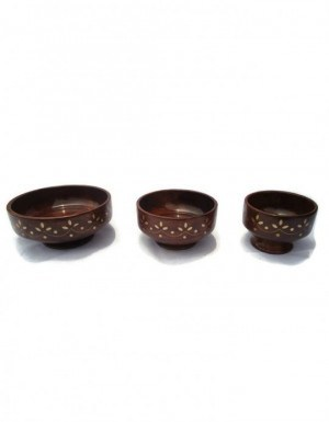 Desi Karigar Carved Big Bowl Set Of Three