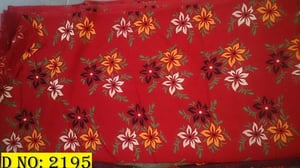 Red Floral Print Cotton Fabric