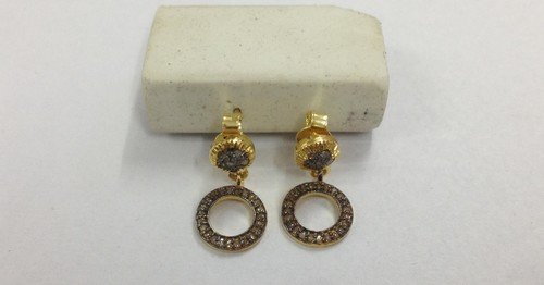Gold Plated Diamond Round Earrings