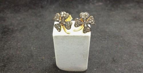 Silver Diamond Flower Earrings