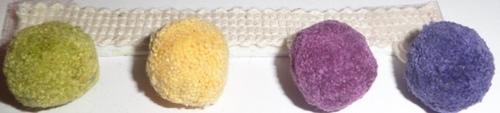 Blue Yellow Purple And Green Pom Pom Fringe