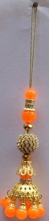 Bridal Orange Beaded And Gold Stone Lehenga Saree Tassels