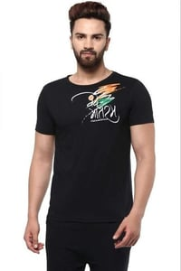Black Half Sleeves Tee With Tricolour Print On Chest