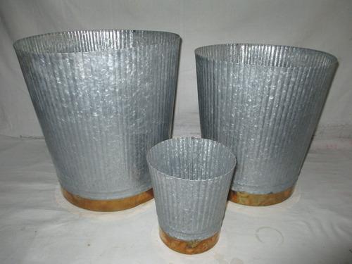 Galvanized Bucket With Brass Strip (Set Of 3)