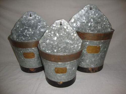 Galvanized Wall Planters (Set Of 3)