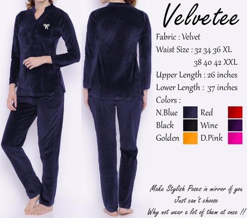 Ladies Velvet Night Suit Size: Extra Large