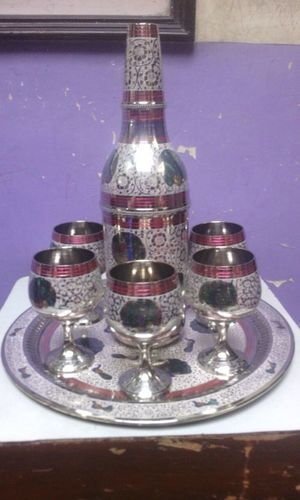 Brass Decorative Bottle With Six Glass Set