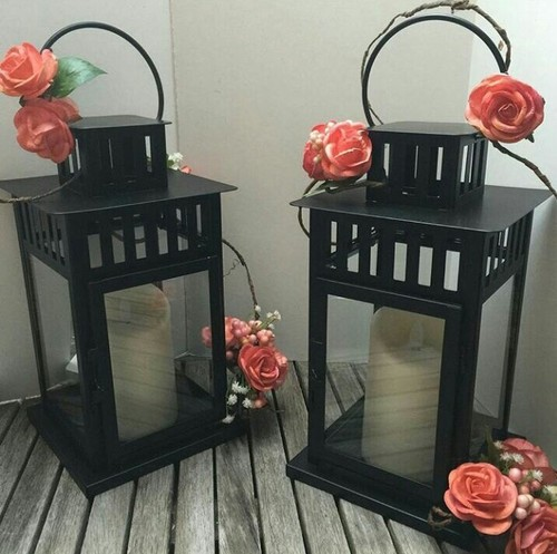 Decorative Iron Lanterns In Black Finish