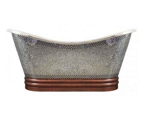 Antique Copper With Mosaic Double Slipper Bath Tub