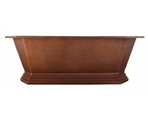 Hammered Antique Copper Double Slipper Soaking Bathtub