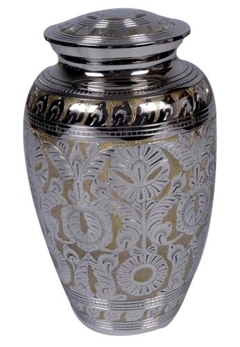 Decorative Matt Nickel Engraved Brass Urn