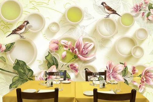 3d wallpaper for walls with sparrow and flower 296