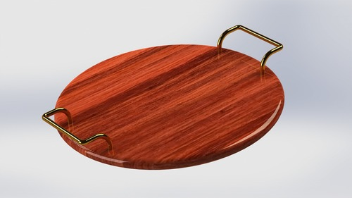 Decorative Wooden Tray With Metal