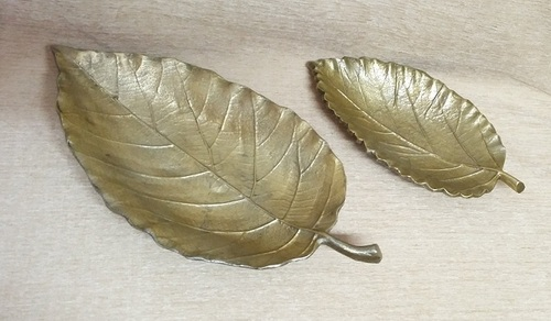 Guava Leaf Serving Dish in Brass Antique Finish