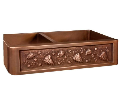 Double Bowl Copper Kitchen Sink With Fruits Pattern