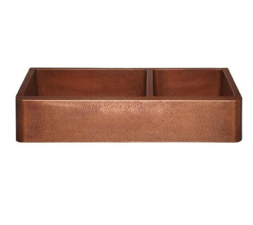 Hammered Antique Copper Double Bowl Kitchen Sink