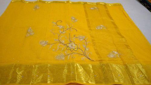 Designer Kota Checks Embroidery Sarees