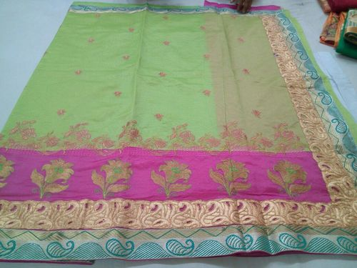 Fancy Art Dupain Embroidered Saree