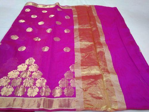 Fancy Chanderi Slik Saree in   Madanpura