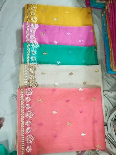 Fancy Supernet Embroidery Saree