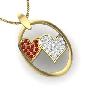 Diamond Heart with Red Rubies Yellow Gold Pendant