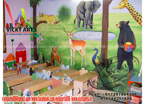 Jungle Theme Playschool Wall Paintings Vicky Arts Near Boys High
