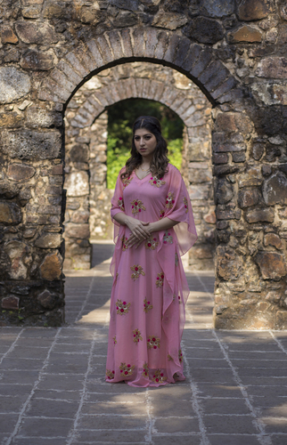Fresh Pink Georgette Fully Embellished Floor Length Kaftan