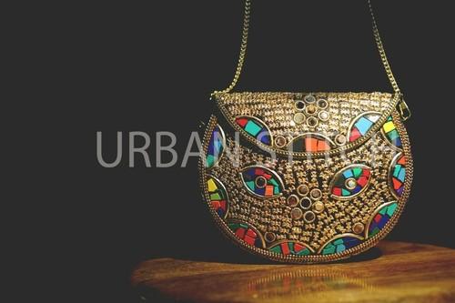 Handmade Mosaic Multicolor Metal Clutch Cum Sling Bags