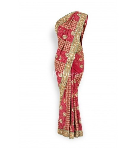 Heavy Designer Border Pure Crepe Silk Red Saree