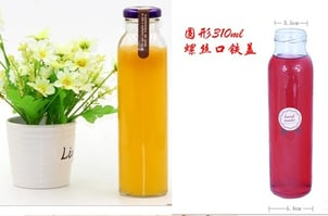 Round Shaped Clear Glass Beverage Bottle With Screw Cap