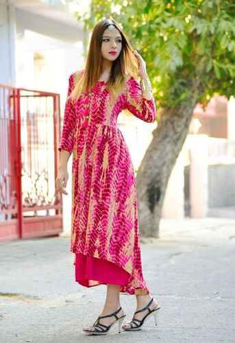 Pink Rayon Double Layered Long Gown in Jaipur 9f3758019
