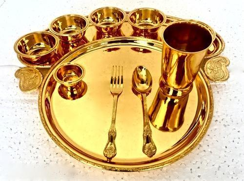 Indian Craftio Luxury Brass Dinner Plate Set