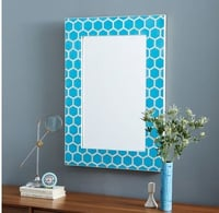 Bone Inlay Honeycomb Mirror Turquoise