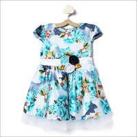 Allover Printed Blue Frock with Attached Flower