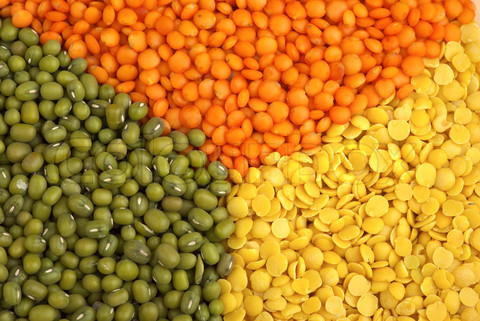 Green Red And Yellow Lentils