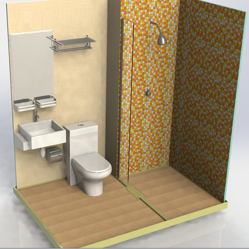 Prefabricated Bathroom Unit With Toilet