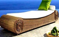 Cane and Bamboo Sofa Bed