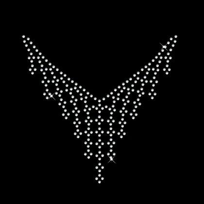 Bling Crystal Necklace Design Hot Fix Rhinestone Motif